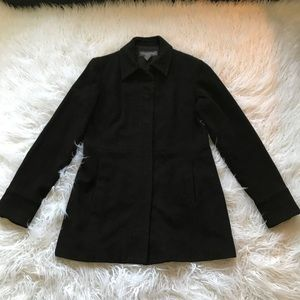 BANANA REPUBLIC BLACK WOOL CASHMERE PEA COAT